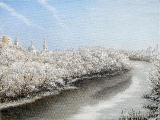 Пейзаж ручной работы. Ярмарка Мастеров - ручная работа. Купить Первый лёд на Наре. Handmade. Пейзаж, река, зима, серпухов
