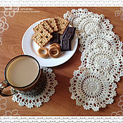 Для дома и интерьера handmade. Livemaster - original item Serving napkins, set of knitted napkin Milk chocolate. Handmade.