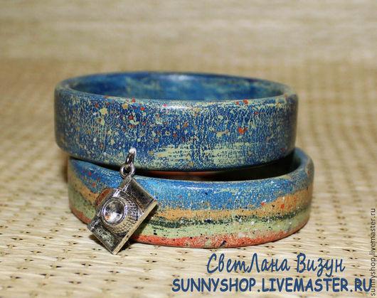 Браслет роспись из дерева с подвеской браслет подарок девушке деревянный браслет браслет на лето купить браслет дерево набор браслетов синий