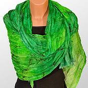 Аксессуары handmade. Livemaster - original item Stole silk batik Emerald. Handmade.