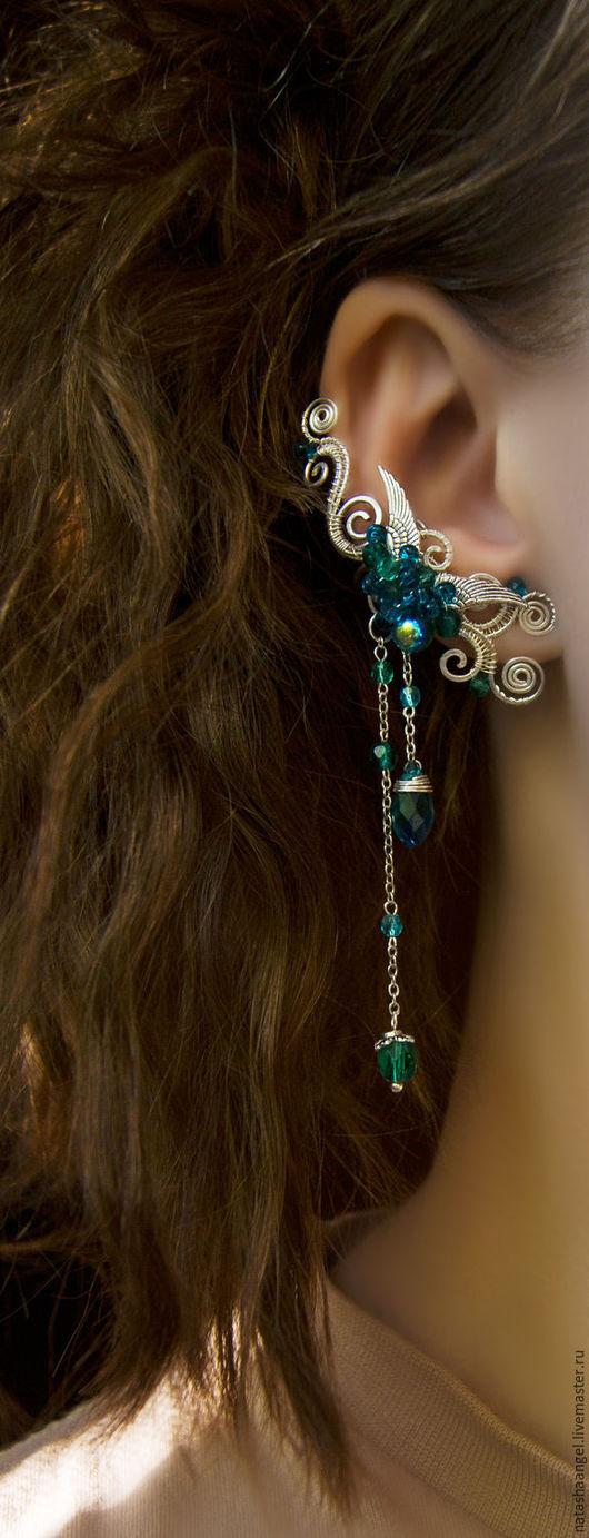"""Каффы ручной работы. Ярмарка Мастеров - ручная работа. Купить Кафф """"Emerald Angel"""" (изумрудные серьги, бирюзовый и изумрудный цвет). Handmade."""