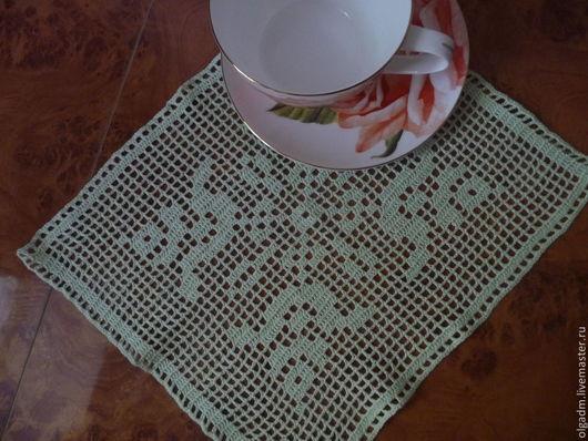 Текстиль, ковры ручной работы. Ярмарка Мастеров - ручная работа. Купить Салфетка крючком №13. Handmade. Мятный, салфетки