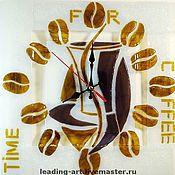 """Для дома и интерьера ручной работы. Ярмарка Мастеров - ручная работа Часы настенные """"Time for coffee"""" (фьюзинг). Handmade."""