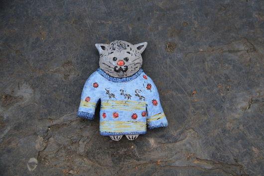 Миниатюра ручной работы. Ярмарка Мастеров - ручная работа. Купить Кот Пуаро. Handmade. Голубой, кот, для детской, игрушка, на стену