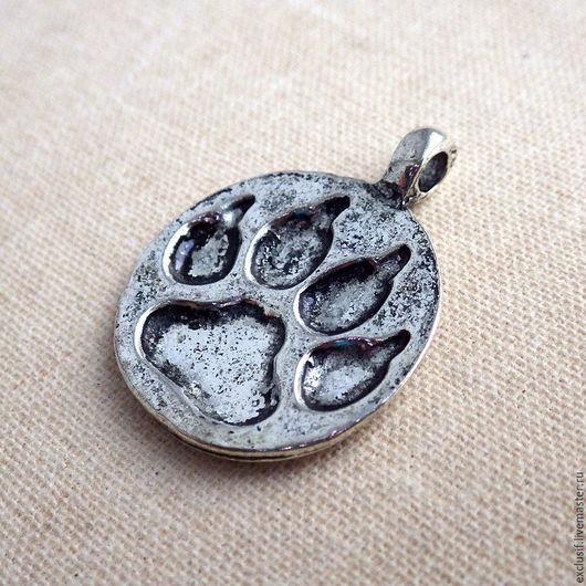 Фурнитура для украшений - подвеска для кулона или чокера след отпечаток звериной лапы.