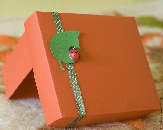 """Подарочная упаковка ручной работы. Ярмарка Мастеров - ручная работа. Купить Коробка """"Божья коровка"""" 15х12,5х5см. Handmade. Рыжий"""