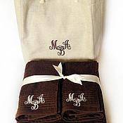 Для дома и интерьера handmade. Livemaster - original item Set of three towels in the bag with the monogram. Handmade.