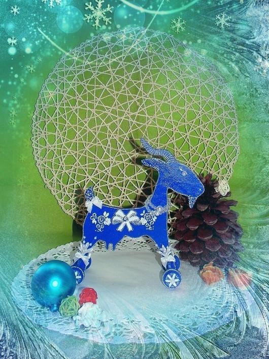 Игрушки животные, ручной работы. Ярмарка Мастеров - ручная работа. Купить Коза новогодняя. Handmade. Тёмно-синий, синий цвет