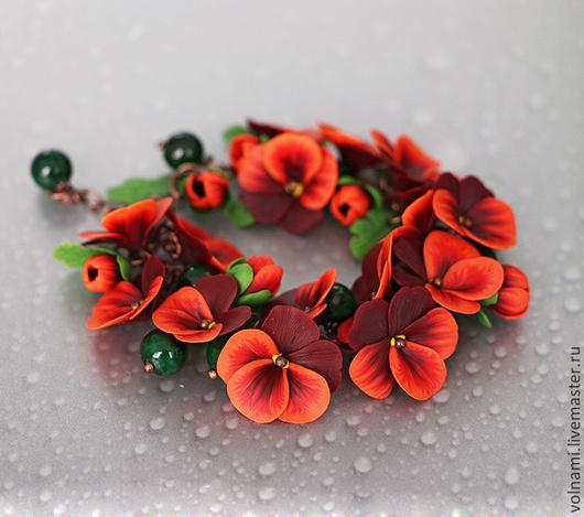 """Браслеты ручной работы. Ярмарка Мастеров - ручная работа. Купить """"Рыжая""""  браслет. Handmade. Рыжий, цветы ручной работы"""