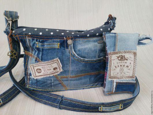 Сумки и аксессуары ручной работы. Ярмарка Мастеров - ручная работа. Купить Летняя джинсовая сумочка + футляр для очков. Handmade.