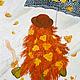 """Люди, ручной работы. Ярмарка Мастеров - ручная работа. Купить Картина маслом на холсте """"Осень"""". Handmade. Оранжевый, пальто, зонтик"""