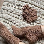 """Аксессуары ручной работы. Ярмарка Мастеров - ручная работа Комплект хлопковых носков """"Какао с молоком"""". Handmade."""