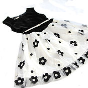 Одежда детская handmade. Livemaster - original item Black and white elegant dress for girls made of mesh with embroidery p. .140-146. Handmade.