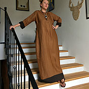 Одежда ручной работы. Ярмарка Мастеров - ручная работа Льняное платье CAMEL. Handmade.