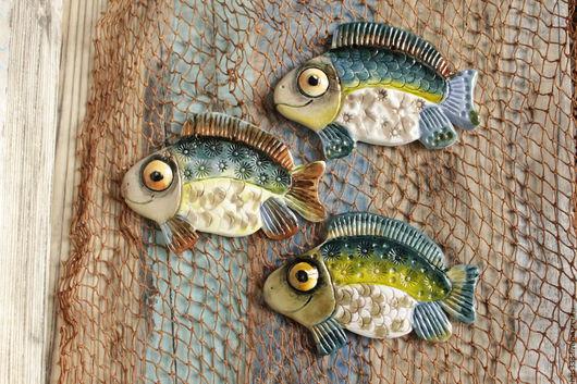 """Декор поверхностей ручной работы. Ярмарка Мастеров - ручная работа. Купить Рыбка панно керамика №""""8,4"""". Handmade. Рыбка"""