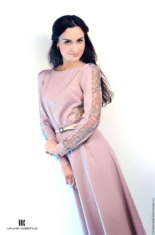 Платья ручной работы. Ярмарка Мастеров - ручная работа. Купить Длинное пастельно-розовое платье на выход. Handmade. Цветочный