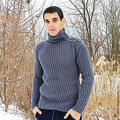 "Мужская одежда handmade. Livemaster - original item Мужской свитер ""Серый волк"". Handmade."