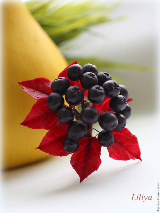 """Броши ручной работы. Ярмарка Мастеров - ручная работа. Купить Брошь """"Черноплодная рябина"""". Handmade. Брошь с ягодами, осенние краски"""