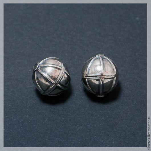 Для украшений ручной работы. Ярмарка Мастеров - ручная работа. Купить Бусина Глобус серебро 925 пробы с чернением. Handmade.