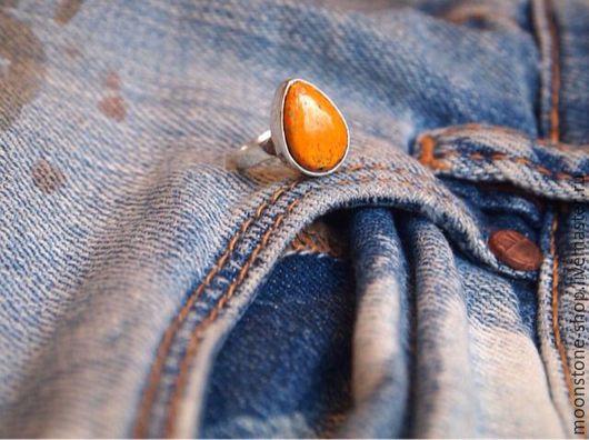 """Кольца ручной работы. Ярмарка Мастеров - ручная работа. Купить Кольцо на мизинец """"Бамблби"""". Handmade. Кольцо, оранжевое настроение, серебро"""
