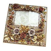 Сувениры и подарки ручной работы. Ярмарка Мастеров - ручная работа Рамка для фотографии коричнево-золотистая. Handmade.