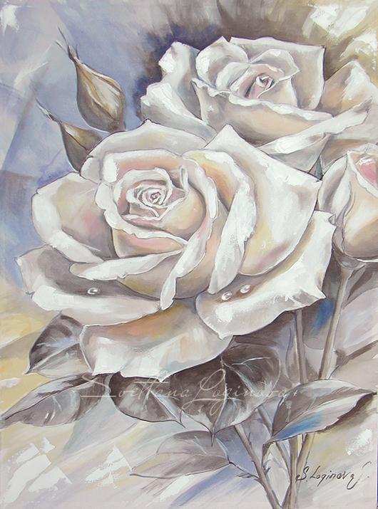 Картины цветов ручной работы. Ярмарка Мастеров - ручная работа. Купить Живопись на шелке Изысканная Роза. Handmade. Чёрно-белый