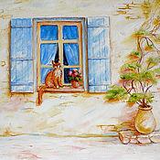 "Картины и панно handmade. Livemaster - original item The painting ""Cat on the window"", 40x50 cm, oil on canvas. Handmade."