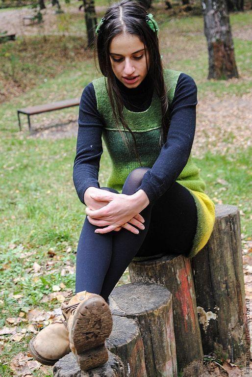 Платья ручной работы. Ярмарка Мастеров - ручная работа. Купить Forest People. Сарафан.. Handmade. Валяное платье, зеленое, трикотаж