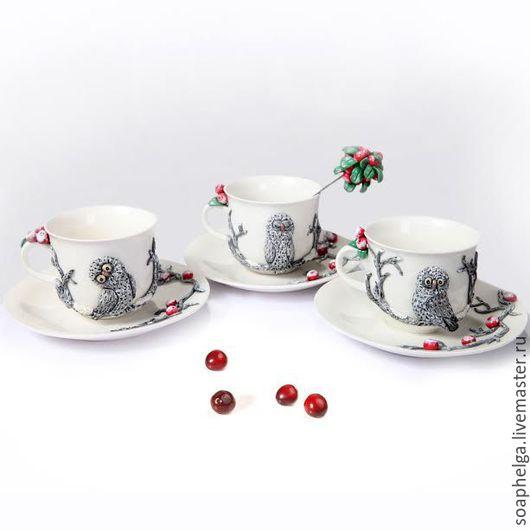 Сервизы, чайные пары ручной работы. Ярмарка Мастеров - ручная работа. Купить Чайный сервиз на 6 персон с декором из полимерной глины. Handmade.