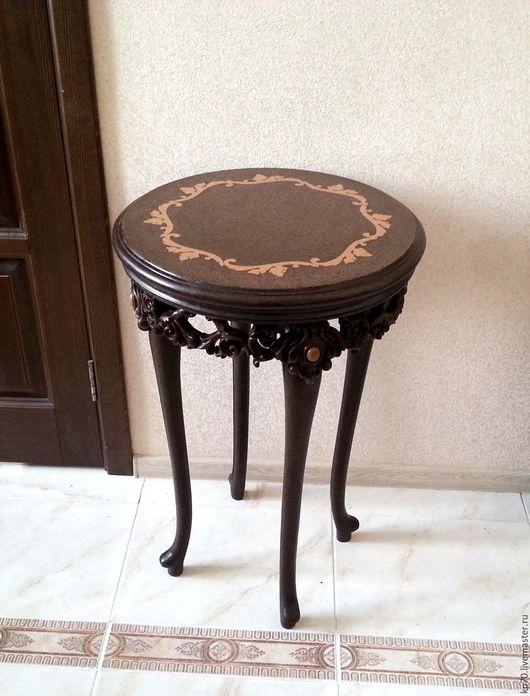 Мебель ручной работы. Ярмарка Мастеров - ручная работа. Купить Столик кофейный высокий. Handmade. Коричневый, камень, сталь