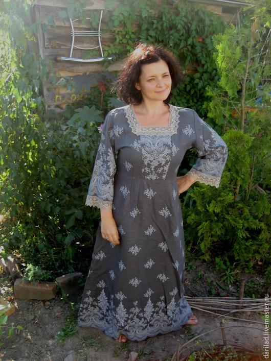 """Платья ручной работы. Ярмарка Мастеров - ручная работа. Купить Платье""""Благородство"""". Handmade. Темно-серый, льняное платье, лён 100%"""