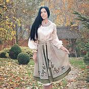 """Одежда handmade. Livemaster - original item Комплект в этно-стиле с ручной вышивкой """"Туманная изморозь-2"""". Handmade."""