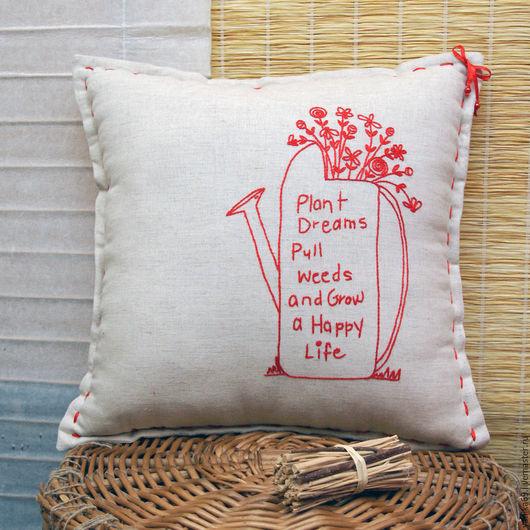 Текстиль, ковры ручной работы. Ярмарка Мастеров - ручная работа. Купить Интерьерная подушка с вышивкой Лейка с цветами. Handmade.