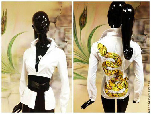 """Блузки ручной работы. Ярмарка Мастеров - ручная работа. Купить Блузка-рубашка-туника удлиненная с вышивкой """"Serpentine"""". Handmade. Белый"""