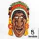 Интерьерные  маски ручной работы. Ярмарка Мастеров - ручная работа. Купить Маска ацтекского торговца. Handmade. Интерьерная маска