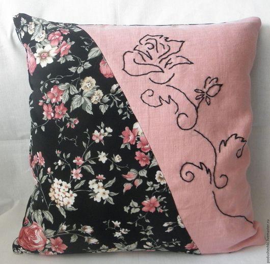 """Текстиль, ковры ручной работы. Ярмарка Мастеров - ручная работа. Купить Подушка """"Дикая роза"""". Handmade. Черный, вышивка ручная"""