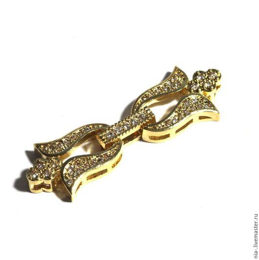 Для украшений ручной работы. Ярмарка Мастеров - ручная работа. Купить Замок для бус и браслетов позолоченный со стразами 29. Handmade.