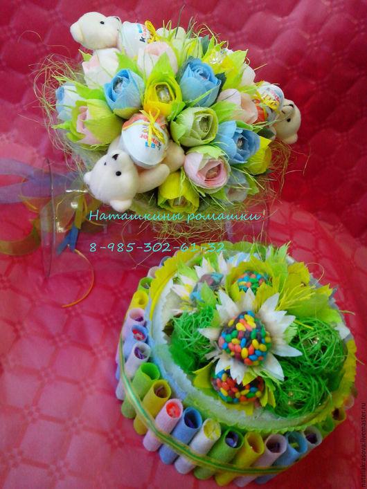 Букеты ручной работы. Ярмарка Мастеров - ручная работа. Купить Букет из конфет с мишками и торт-шкатулка. Handmade. Разноцветный