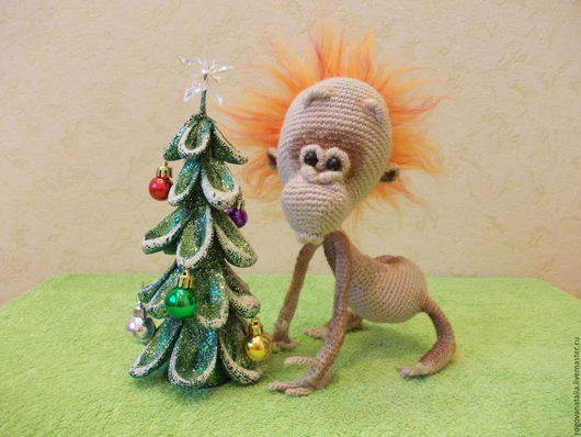 """Игрушки животные, ручной работы. Ярмарка Мастеров - ручная работа. Купить """"Огненная обезьянка"""" символ 2016 года. Handmade. Бежевый"""