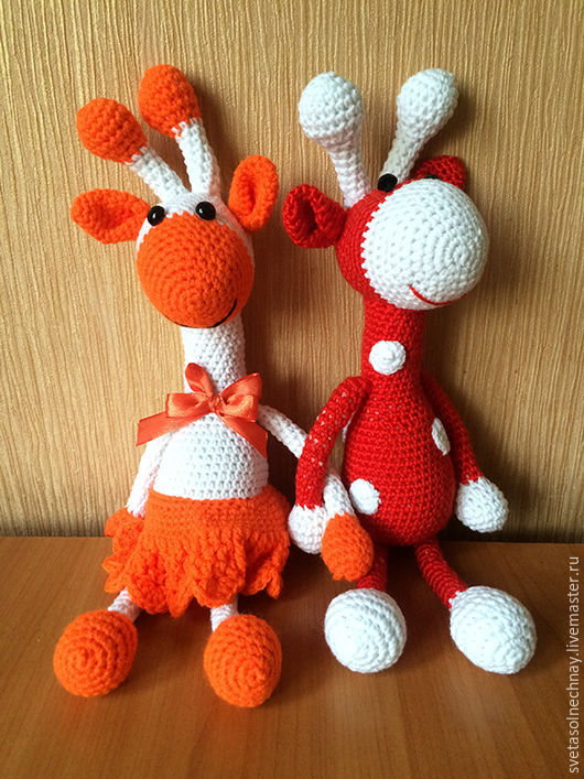 Игрушки животные, ручной работы. Ярмарка Мастеров - ручная работа. Купить вязанные жирафы. Handmade. Ярко-красный