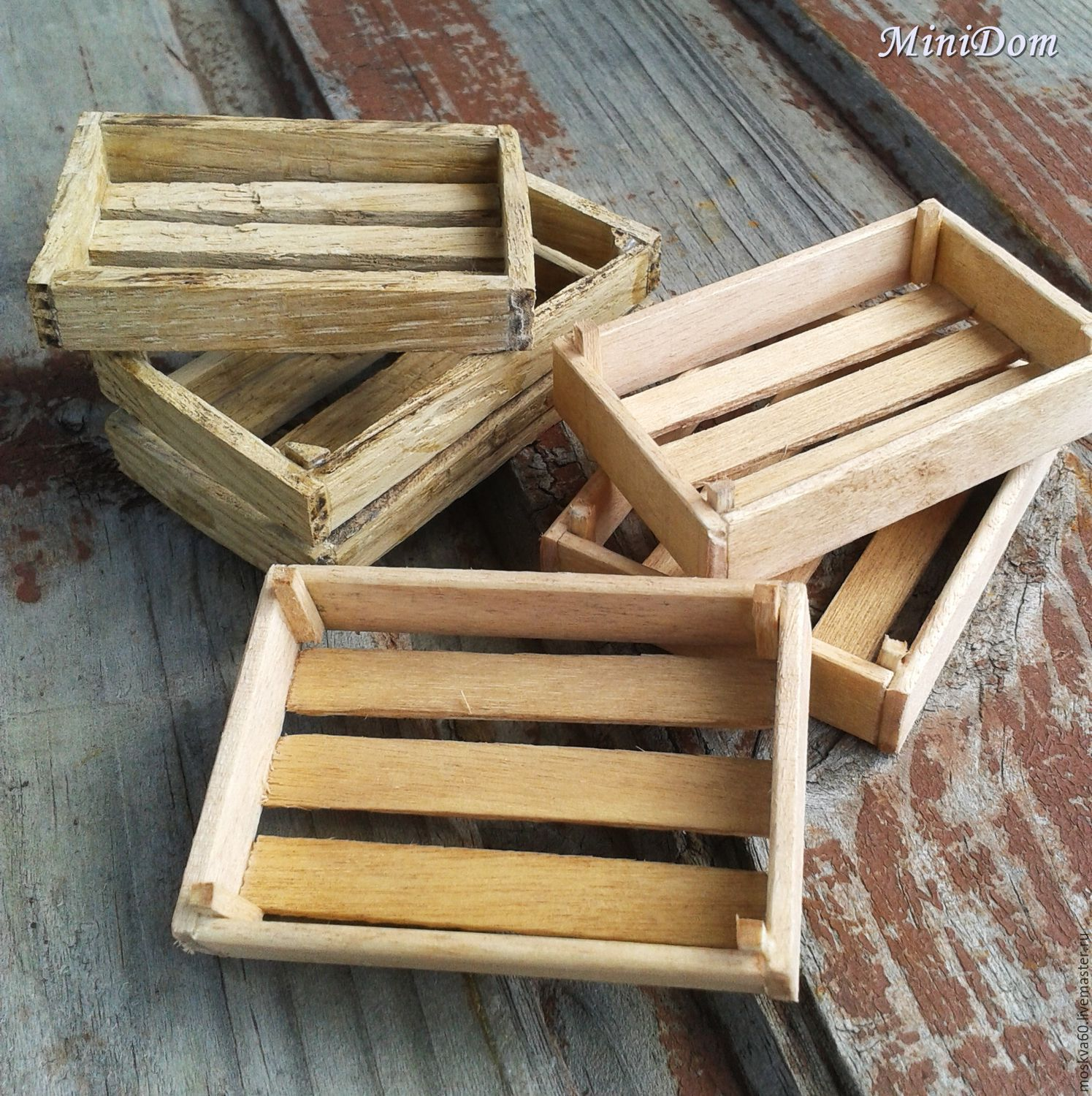 Accessories for dolls - Wooden crates, boxes for vegetables, Doll food, Moscow,  Фото №1