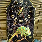 Для дома и интерьера handmade. Livemaster - original item Wall clock Steampunk chameleon. Handmade.