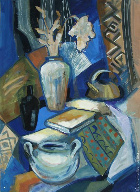 Still Life with the Book and Kettle the artwork by Tatyana Petrovskaya