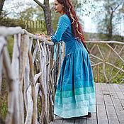 Одежда ручной работы. Ярмарка Мастеров - ручная работа Льняное платье «Волны». Handmade.