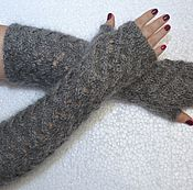 Аксессуары handmade. Livemaster - original item Feather grey knit fingerless gloves Avtoledi natural goat down. Handmade.