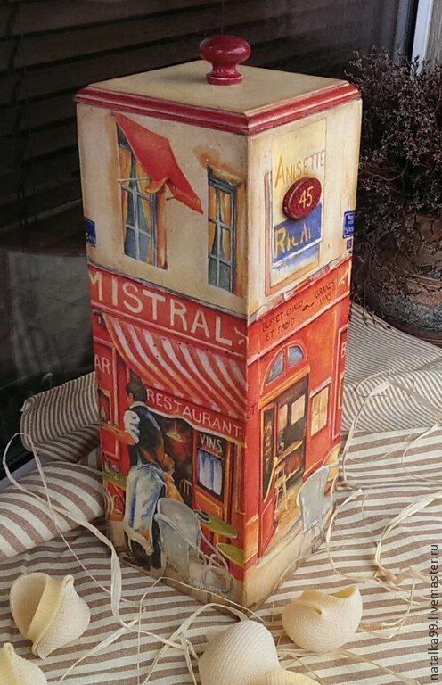 """Кухня ручной работы. Ярмарка Мастеров - ручная работа. Купить Короб для спагетти """"Бистро в Париже"""". Handmade. Разноцветный, кухонные принадлежности"""