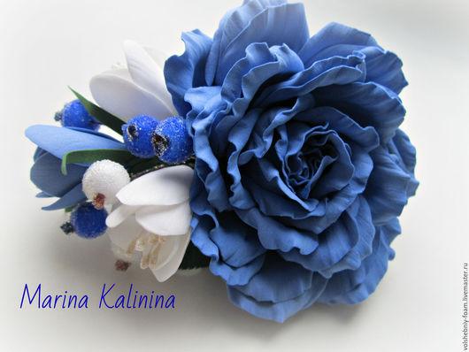 Заколки ручной работы. Ярмарка Мастеров - ручная работа. Купить Заколка из фоамирана с голубой розой.. Handmade. Синий, голубая роза