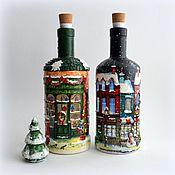 Рождественские домики-бутылки со светящейся пробкой Декупаж