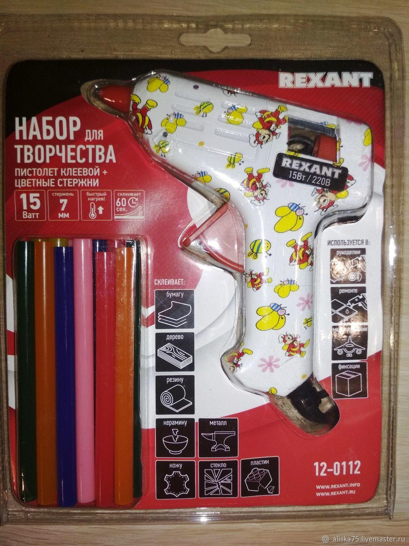 Пистолет клевой + цветные стержни, Инструменты для вышивки, Калуга,  Фото №1