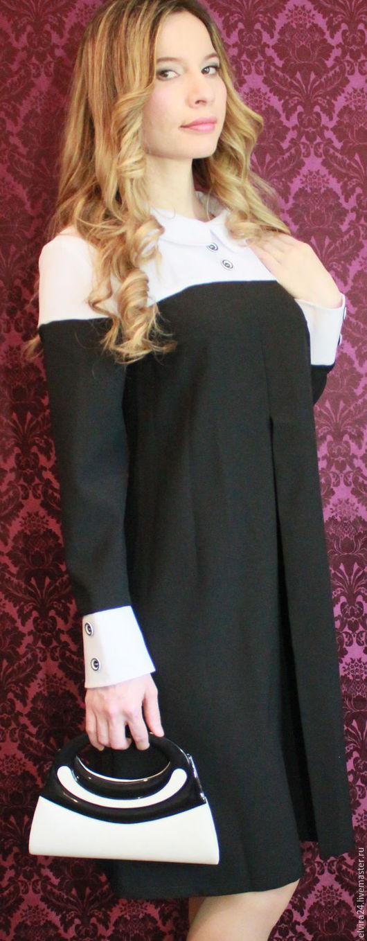 Платья ручной работы. Ярмарка Мастеров - ручная работа. Купить Офисное платье комбинированное. Handmade. Чёрно-белый, габардин стрейч